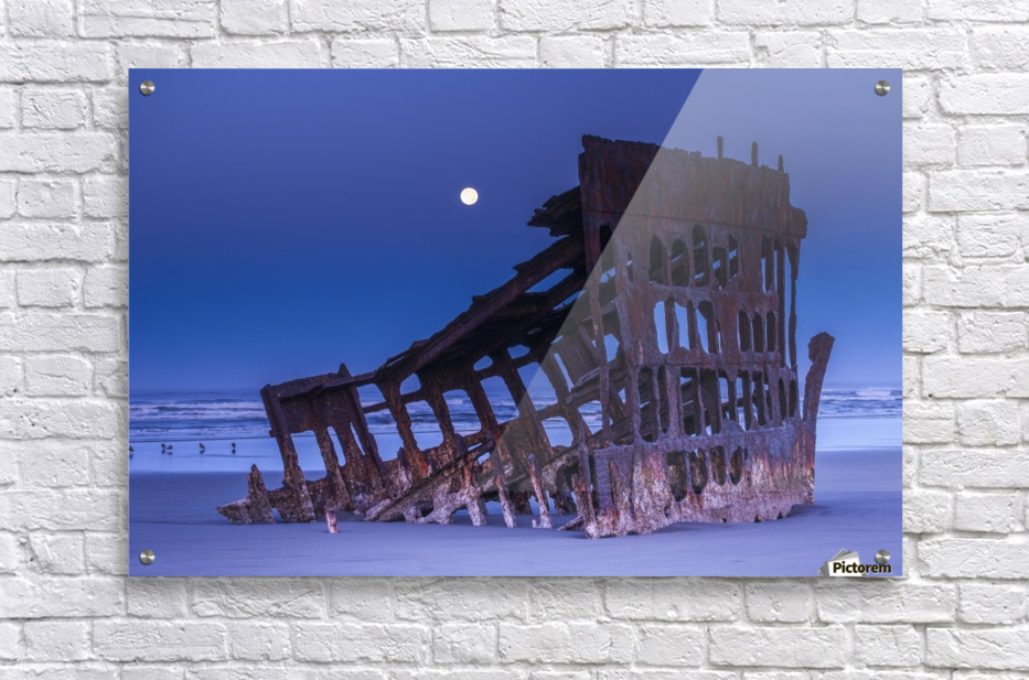 The moon sets over the wreck of the Peter Iredale; Oregon, United States of America  Acrylic Print