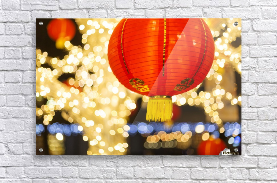 Red and gold Chinese lantern with sparkling white lights in the background, Granville Island; Vancouver, British Columbia, Canada  Acrylic Print