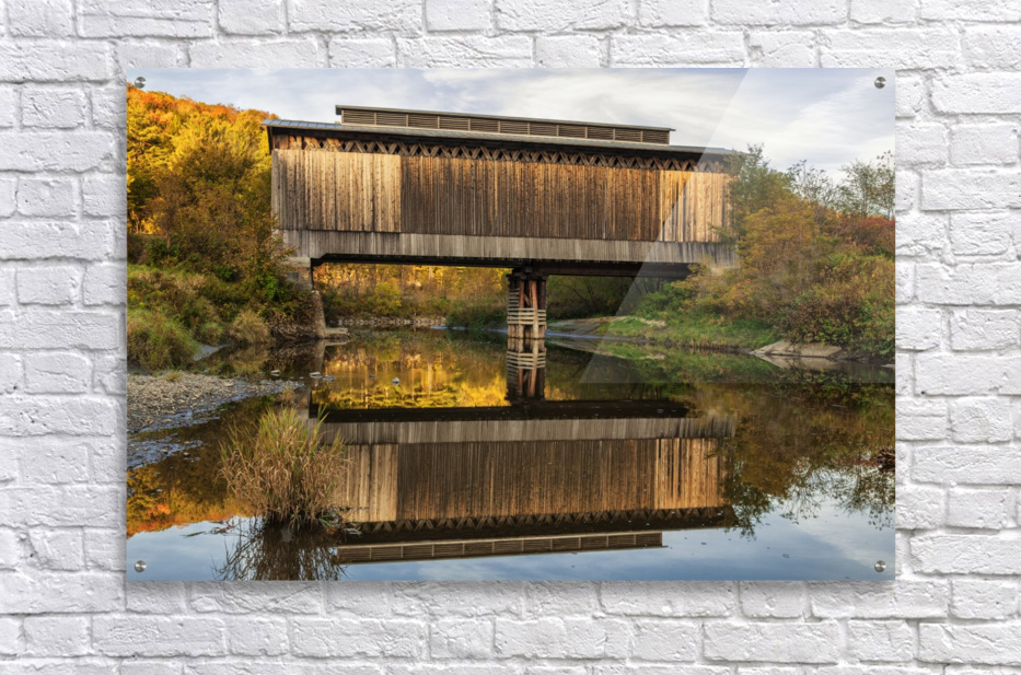 Fisher covered railroad bridge over Lamoille River in autumn; Wolcott, Vermont, United States of America  Acrylic Print