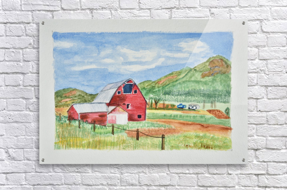 Red Barn Landscape - Linda Brody Canvas