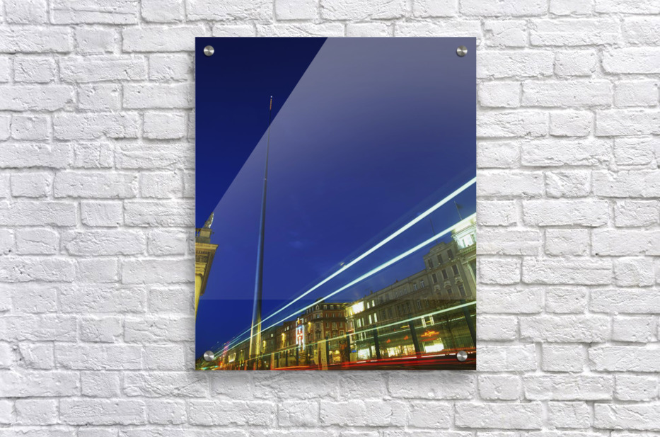 Spire Of Dublin, O'connell Street, Dublin, Ireland; Sculpture Against Traffic Light Streams  Acrylic Print