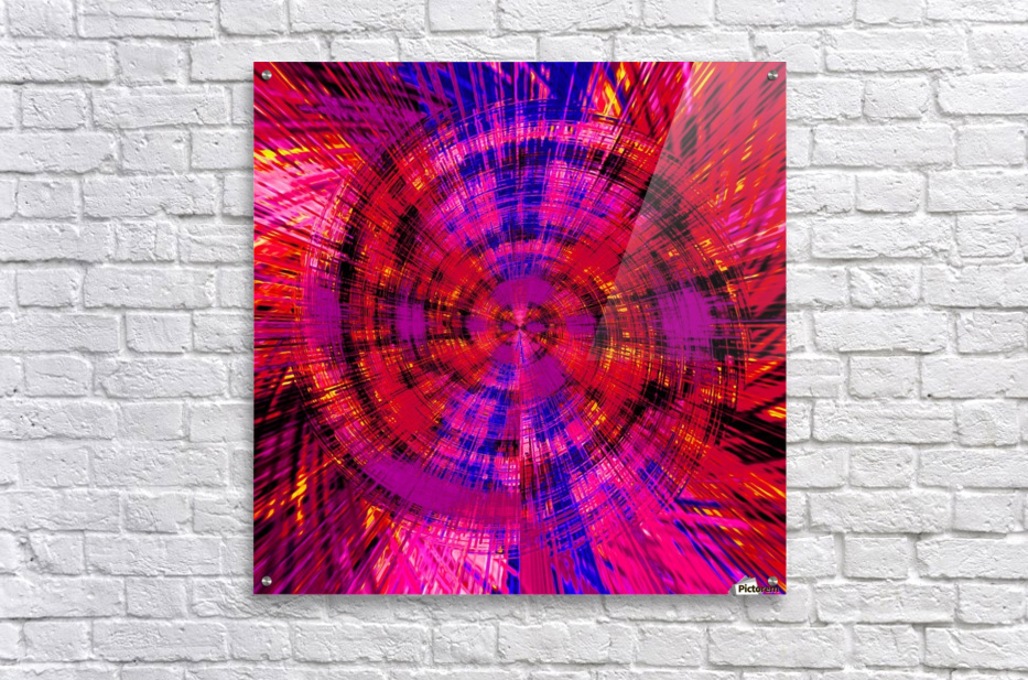 geometric red blue pink and yellow circle plaid pattern abstract background  Acrylic Print