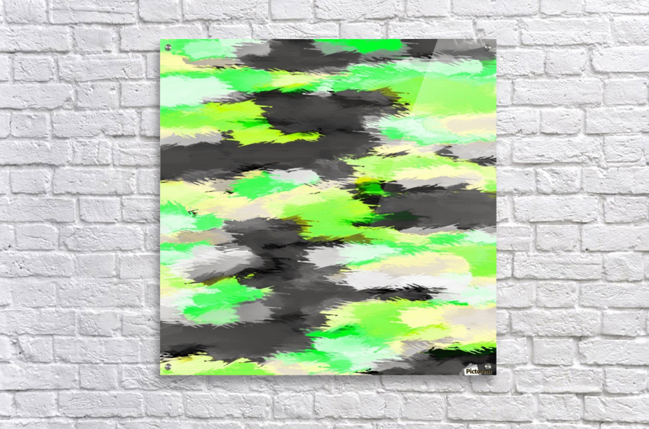 psychedelic camouflage splash painting abstract in green yellow and black  Acrylic Print