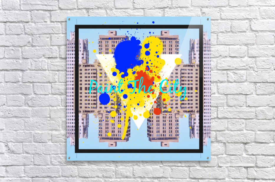 paint the city yellow blue and orange with buildings background  Acrylic Print
