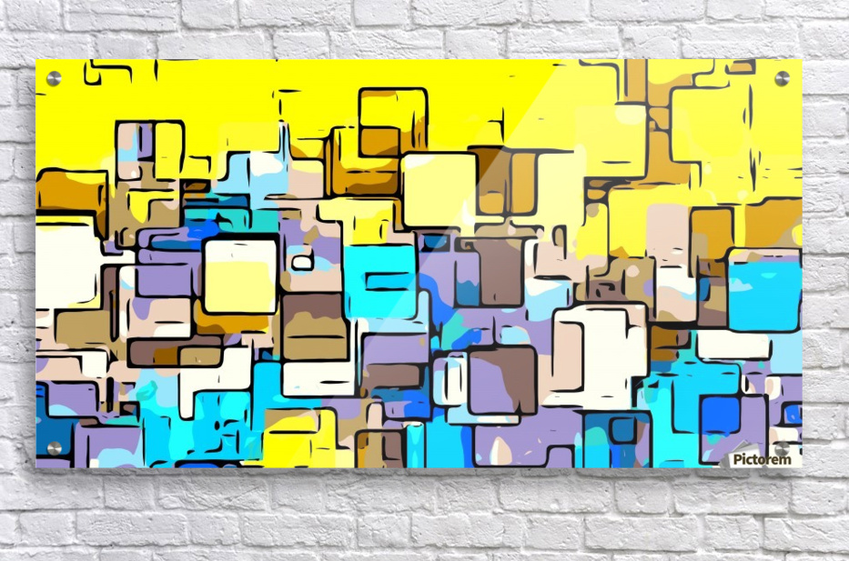 geometric graffiti square pattern abstract in yellow blue and brown  Acrylic Print
