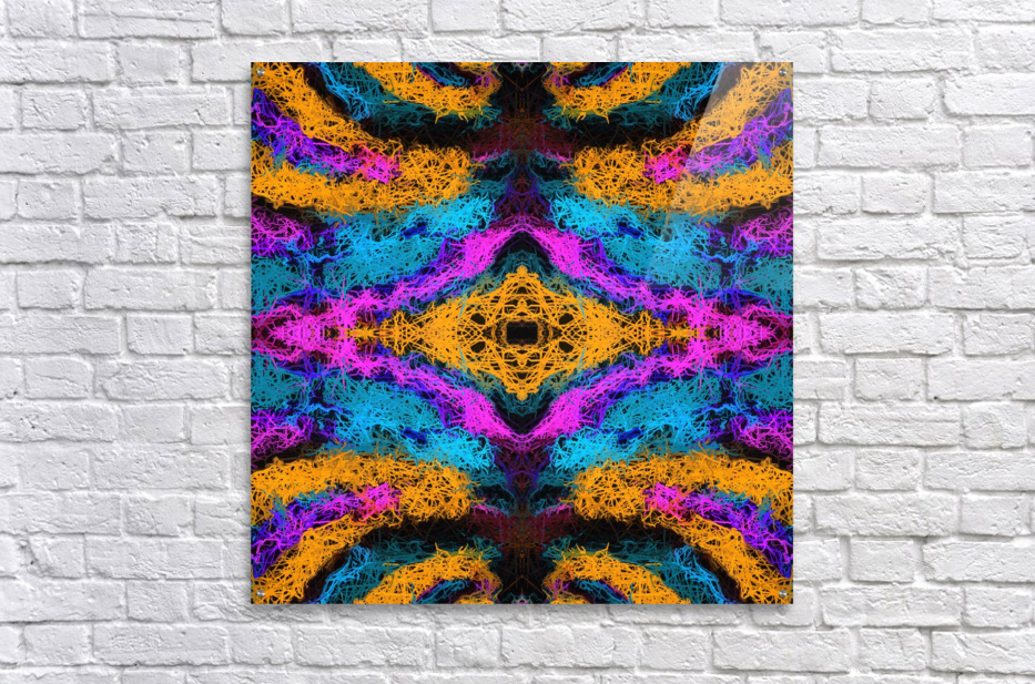 psychedelic graffiti geometric drawing abstract in pink orange blue  Acrylic Print