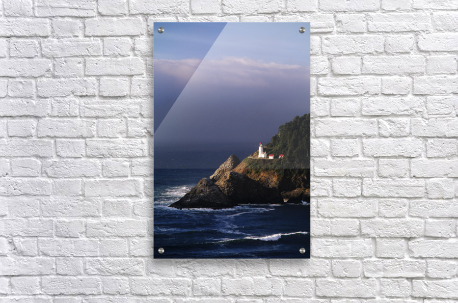 Oregon, Devils Elbow State Park, Heceta Head Lighthouse Overlooking Ocean And Waves.  Acrylic Print