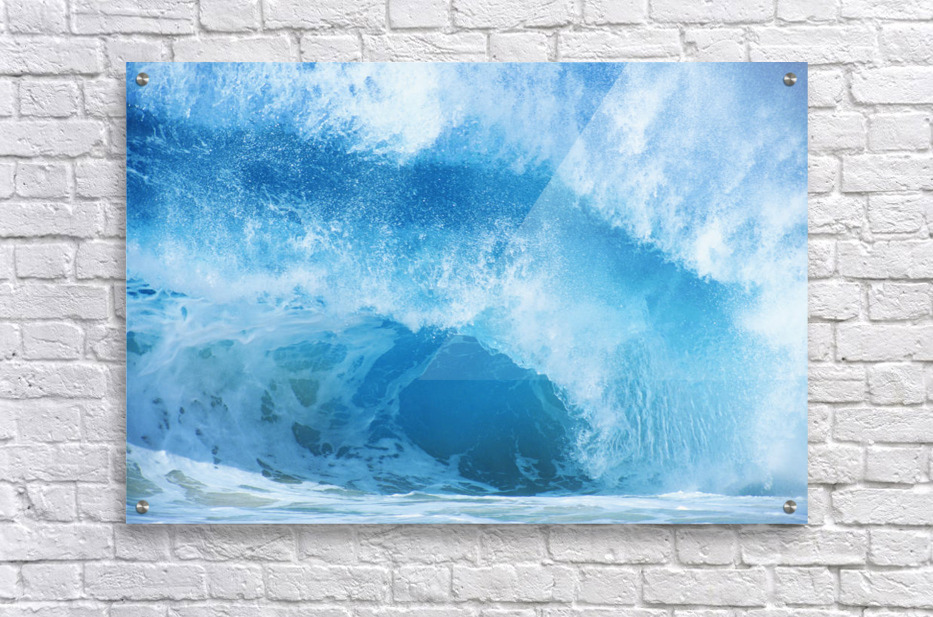 Closeup Of Crashing, Blue Wave  Acrylic Print