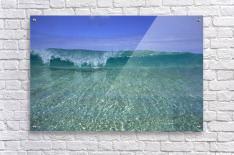 Hawaii, Front View Of Shallow Crystal Clear Aquamarine Wave, Curling A30D  Acrylic Print