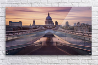 Millennium bridge leading towards St. Paul's church  Acrylic Print