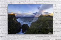 Person standing on a cliff face while the Atlantic Ocean pounds the shores beneath them; Iceland  Acrylic Print