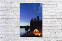 A glowing tent on a beach overlooks green Aurora Borealis reflected in the tranquil ocean water, Hesketh Island; Homer, Alaska, United States of America   Acrylic Print
