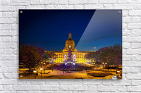 Alberta Legislature building illuminated and a Christmas tree with colourful lights on the trees for decoration at Christmas time; Edmonton, Alberta, Canada  Acrylic Print