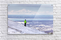 Woman snowshoer taking in the view of Mt. McKinley (Denali) from Blueberry Hill at the Glen Alps area of Chugach State Park, Anchorage, Southcentral Alaska, Winter, HDR  Acrylic Print
