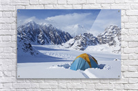 Mountain tent on ridge in winter, Mt. McKinley in background, part of Mt. Dan Beard immediately behind tent, Denali National Park and Preserve; Alaska, United States of America  Acrylic Print