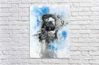 Illustration of a woman's face with splashes and shapes on the top of her head  Acrylic Print