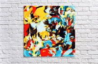 psychedelic geometric splash painting abstract pattern in yellow red blue brown  Acrylic Print