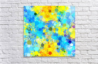 psychedelic geometric circle pattern and square pattern abstract in yellow and blue  Acrylic Print