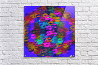 sexy kiss lipstick abstract pattern in pink blue orange red  Acrylic Print