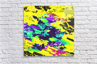 psychedelic splash painting abstract texture in yellow blue green purple  Acrylic Print