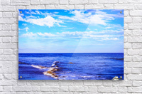 blue ocean view with blue cloudy sky in summer  Acrylic Print