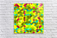 geometric square pixel pattern abstract in yellow red green blue  Acrylic Print