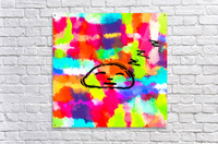 sleeping cartoon face with painting abstract background in red pink yellow blue orange  Acrylic Print