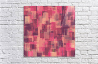 psychedelic geometric square pattern abstract in pink and purple  Acrylic Print