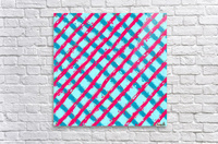 line pattern painting abstract background in blue and red  Acrylic Print