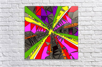 psychedelic geometric pattern drawing abstract background in red pink green yellow  Acrylic Print