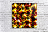 circle pattern abstract background with splash painting abstract in yellow red brown  Acrylic Print
