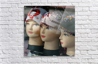 Three Mannequin Heads with Bandanas  Acrylic Print