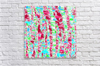 psychedelic painting texture abstract pattern background in pink blue green  Acrylic Print