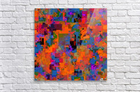 psychedelic geometric square pattern abstract background in orange blue red  Acrylic Print