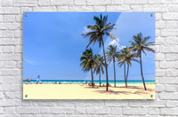 vacation on the beach on the hot Caribbean islands with green palms, yellow sand, blue sky  Acrylic Print