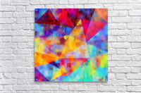 vintage psychedelic triangle polygon pattern abstract in orange yellow red blue purple  Acrylic Print