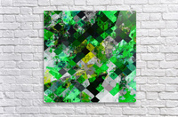 vintage psychedelic geometric square pixel pattern abstract in green and yellow  Acrylic Print
