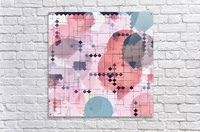 geometric square pixel pattern abstract with circle pattern background in red pink blue  Acrylic Print