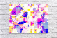 geometric square and circle pattern abstract in pink blue yellow  Acrylic Print
