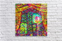 Classic Microphone with Colorful Curtains  Acrylic Print