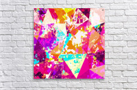 geometric triangle pattern abstract in pink blue purple  Acrylic Print