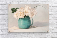 White roses in green pitcher 28 x 40 oil painting landscape 1  Acrylic Print