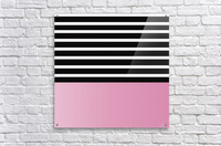 Black & White Stripes with Baby Pink Patch  Acrylic Print