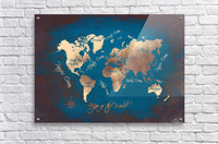 world map text blue gold  Acrylic Print