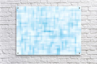 geometric square pixel pattern abstract in blue  Acrylic Print