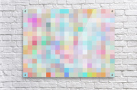 geometric square pixel pattern abstract in blue and pink  Acrylic Print