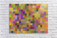 geometric square pixel pattern abstract in yellow green purple  Acrylic Print