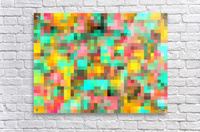 geometric square pixel pattern abstract in green yellow pink  Acrylic Print