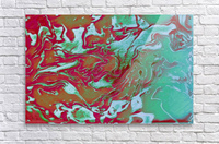 Fire and Ice - turquoise red gradient abstract swirl wall art  Acrylic Print