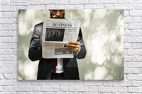 A bearded man reading the business section of a newspaper  Acrylic Print